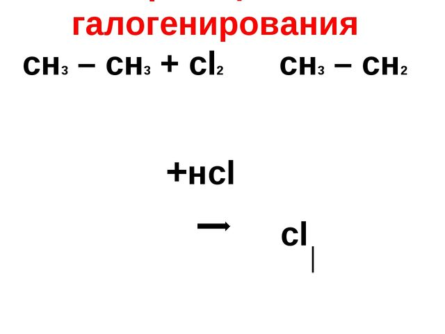 Атомы галогенов : хлор , бром - реакция галогенирования сн3 – сн3 + сl2 сн3...