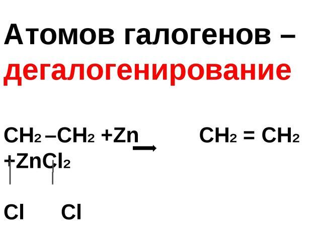 Атомов галогенов – дегалогенирование СН2 –СН2 +Zn СН2 = СН2 +ZnCl2 Cl Cl