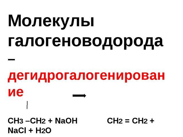 Молекулы галогеноводорода – дегидрогалогенирование СН3 –СН2 + NaOH CH2 = CH2...