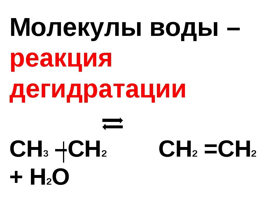 Молекулы воды – реакция дегидратации СН3 –СН2 СН2 =СН2 + Н2О ОН