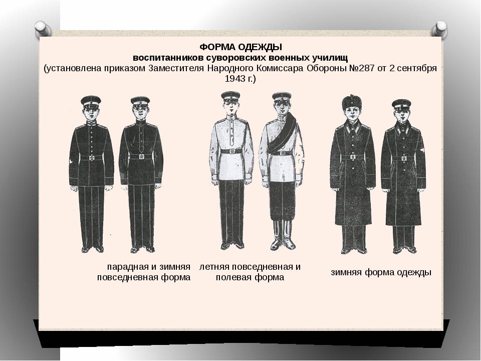 ФОРМА ОДЕЖДЫ воспитанников суворовских военных училищ (установлена приказом З...