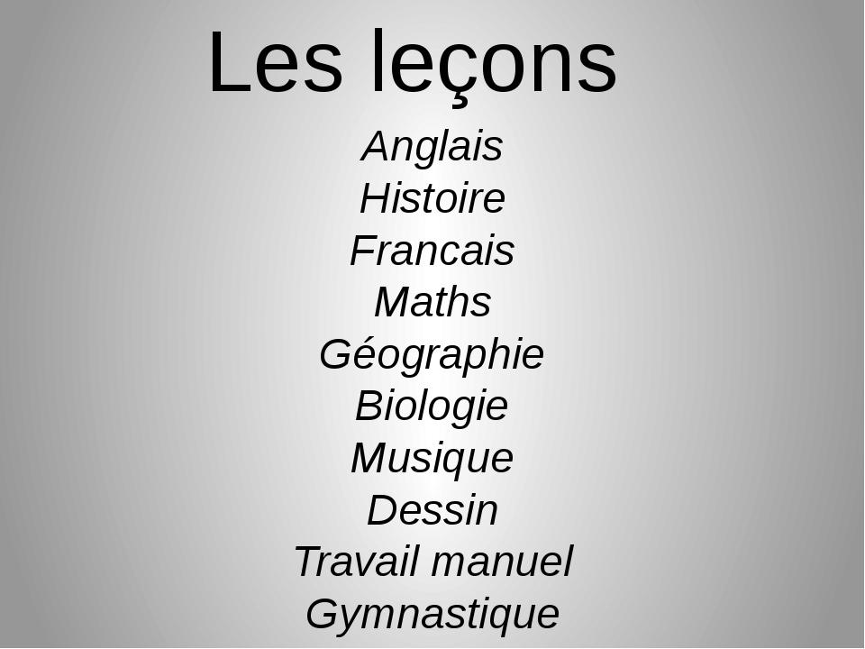 Les leçons Anglais Histoire Francais Maths Géographie Biologie Musique Dessin...