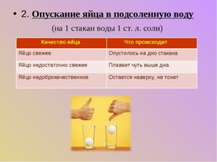 2. Опускание яйца в подсоленную воду (на 1 стакан воды 1 ст. л. соли) Качеств