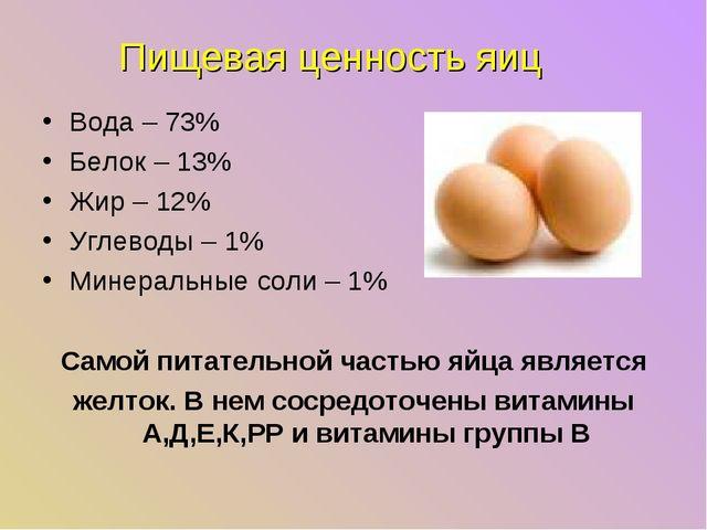 Пищевая ценность яиц Вода – 73% Белок – 13% Жир – 12% Углеводы – 1% Минеральн...