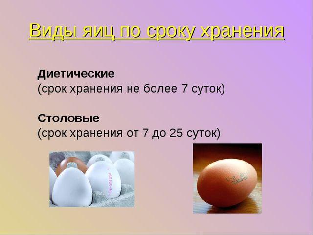 Виды яиц по сроку хранения Диетические (срок хранения не более 7 суток) Столо...