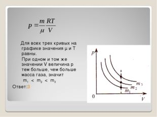 Для всех трех кривых на графике значения μ и Т равны. При одном и том же зна