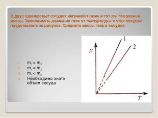 В двух одинаковых сосудах нагревают один и тот же газ разной массы. Зависимос