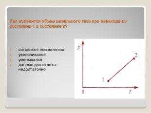 Как изменится объем идеального газа при переходе из состояния 1 в состояние 2