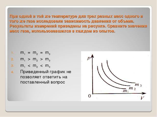 При одной и той же температуре для трех разных масс одного и того же газа исс...