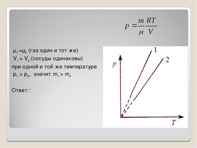μ1 =μ2 (газ один и тот же) V1 = V2 (сосуды одинаковы) при одной и той же тем...