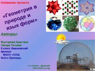 «Геометрия в природе и язык форм» Авторы: Мухтарова Кристина Запара Татьяна 8