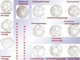 Усеченный икосаэдр Курносый додекаэдр Усечённый тетраэдр Усеченный октаэдр Ро