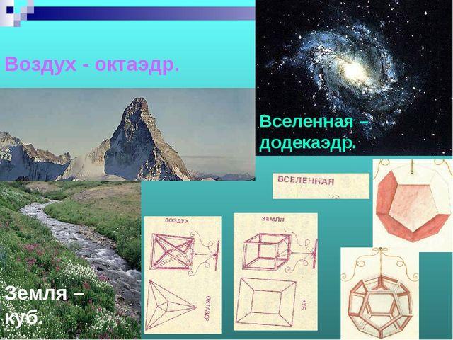Воздух - октаэдр. Земля – куб. Вселенная – додекаэдр.