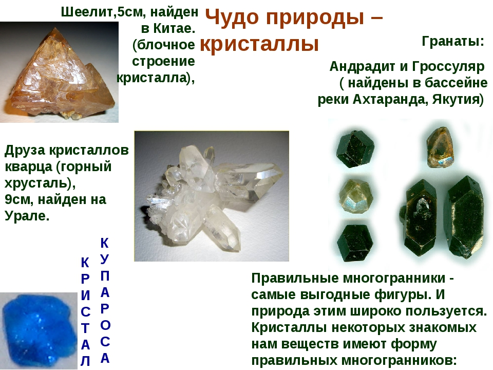 Чудо природы – кристаллы Правильные многогранники - самые выгодные фигуры. И...