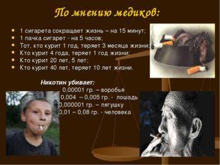 По мнению медиков: 1 сигарета сокращает жизнь – на 15 минут; 1 пачка сигарет