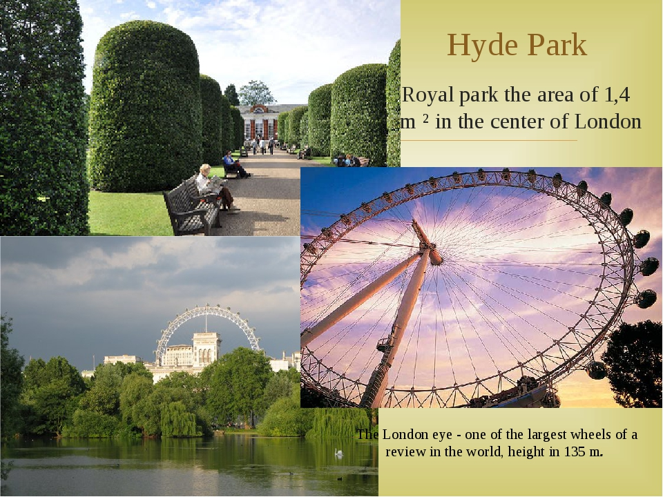 Royal park the area of 1,4 km ² in the center of London Hyde Park The London...