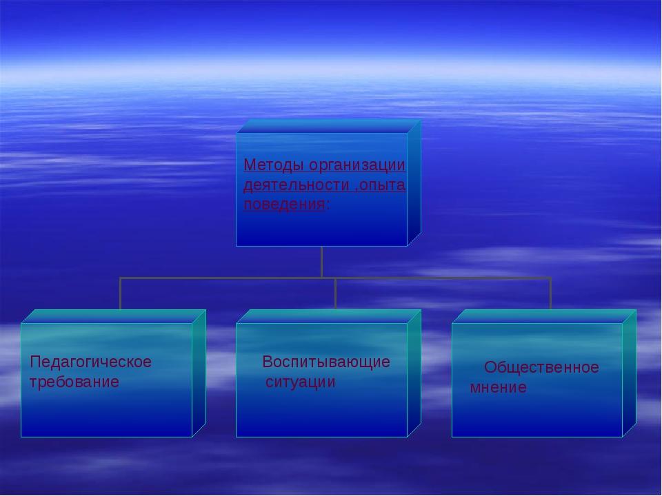 Методы организации деятельности ,опыта поведения: Педагогическое требование В...