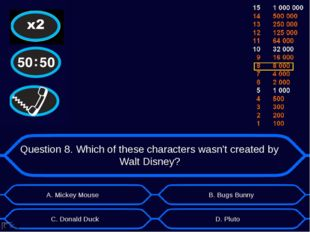 Question 8. Which of these characters wasn't created by Walt Disney? А. Micke