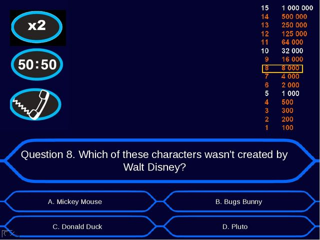 Question 8. Which of these characters wasn't created by Walt Disney? А. Micke...