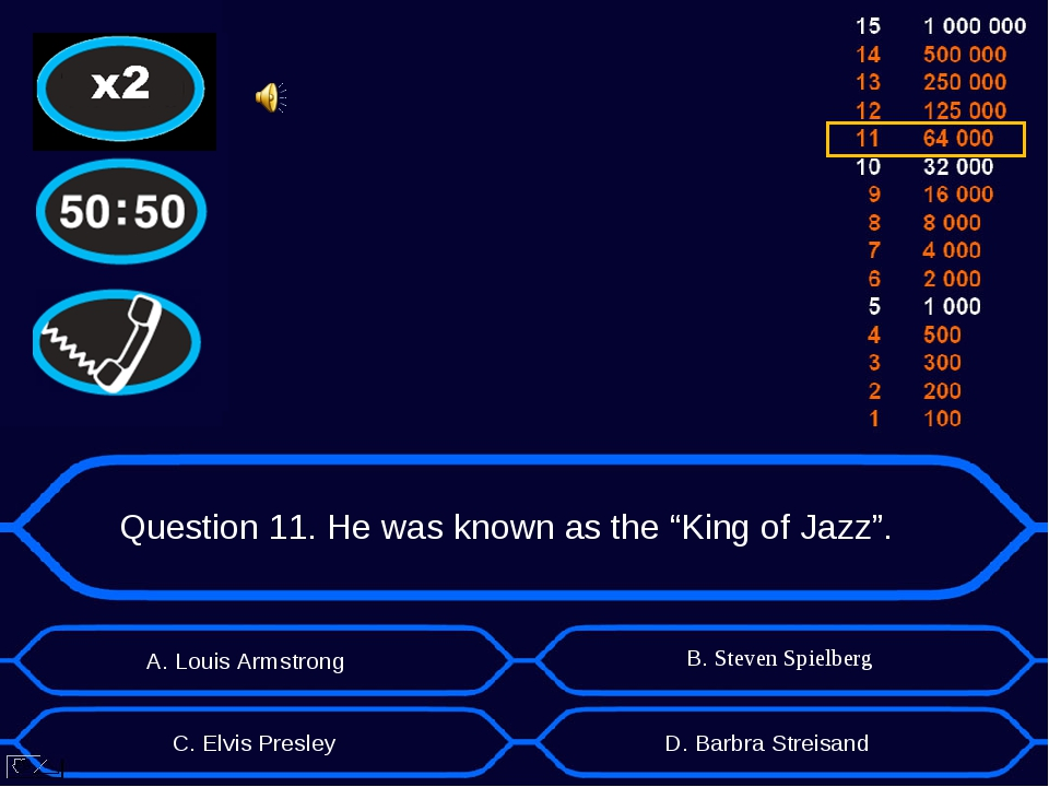 "Question 11. He was known as the ""King of Jazz"". А. Louis Armstrong D. Barbra..."