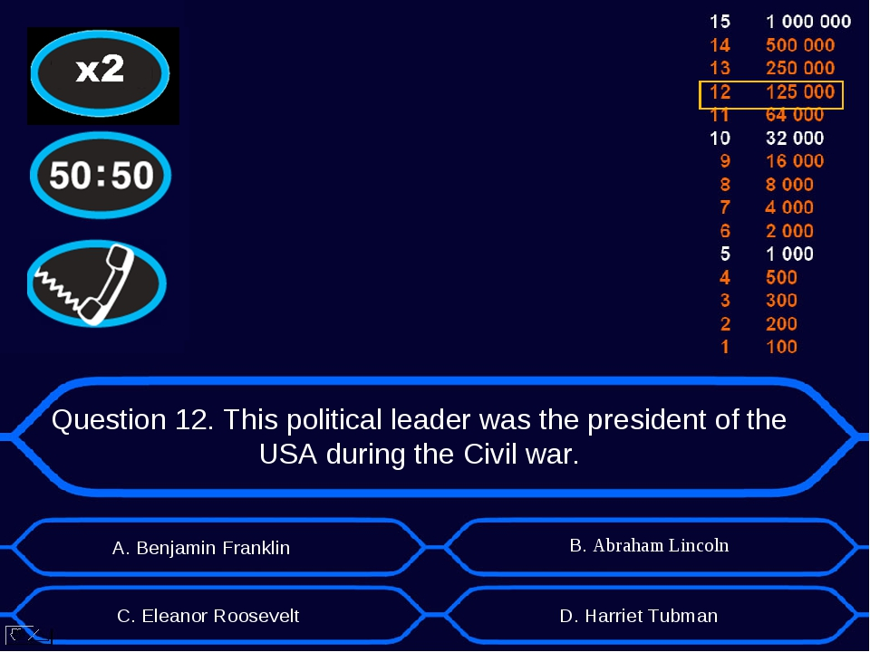 Question 12. This political leader was the president of the USA during the Ci...