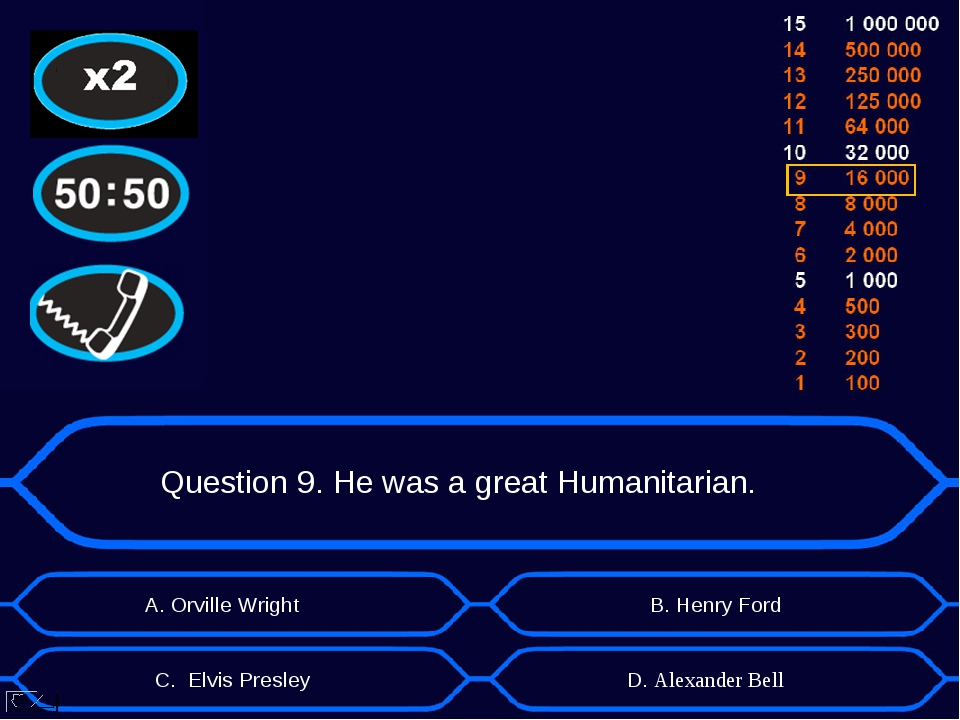 Question 9. He was a great Humanitarian. А. Orville Wright D. Alexander Bell...