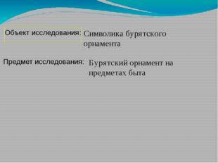 Символика бурятского орнамента Предмет исследования: Объект исследования: Бур