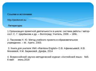 Ссылки и источники: http://pedsovet.su Литература: 1.Организация проектной де