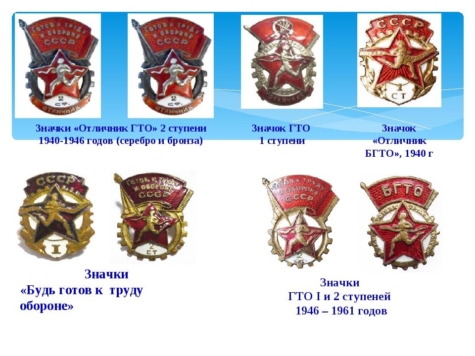 Значок ГТО 1 ступени Значок «Отличник БГТО», 1940 г Значки «Отличник ГТО» 2...