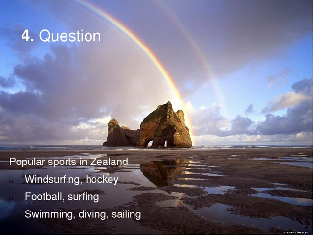 4. Question Popular sports in Zealand Windsurfing, hockey Football, surfing S...