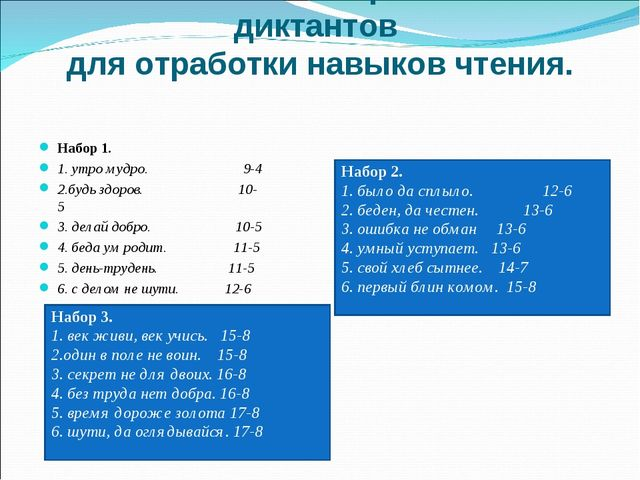 Использование зрительных диктантов для отработки навыков чтения. Набор 1. 1....