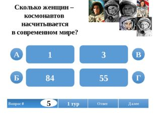 Сколько женщин – космонавтов насчитывается в современном мире? 1 84 3 55 А Б