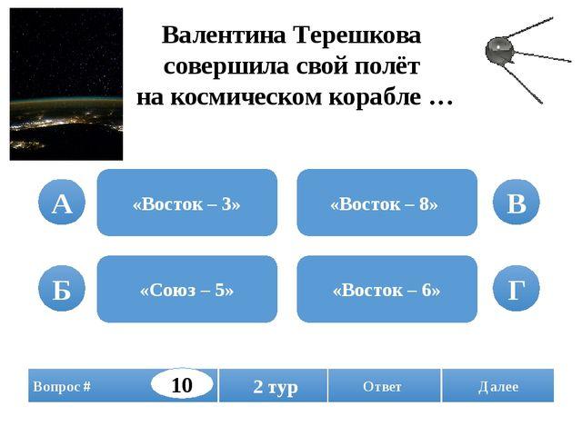 Валентина Терешкова совершила свой полёт на космическом корабле … «Восток – 3...