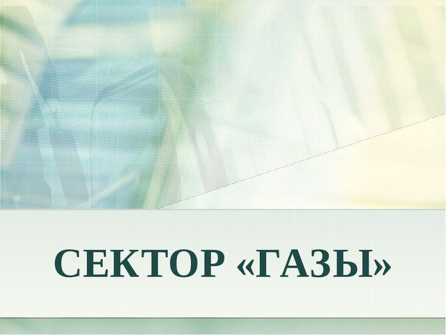 СЕКТОР «ГАЗЫ»
