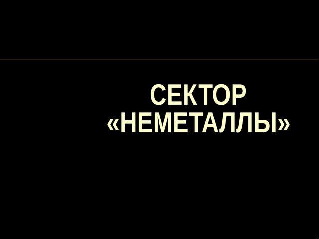 СЕКТОР «НЕМЕТАЛЛЫ»