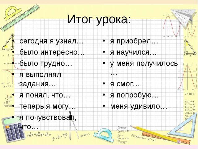 Итог урока: сегодня я узнал… было интересно… было трудно… я выполнял задания…...