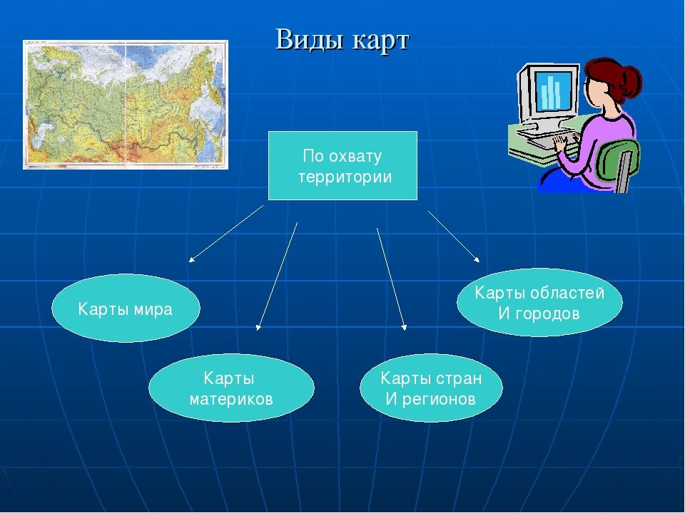 Виды карт По охвату территории Карты мира Карты материков Карты стран И регио...