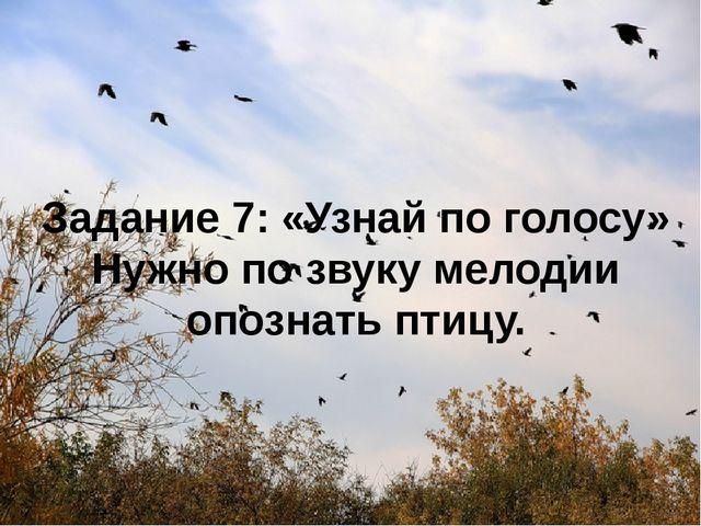 Задание 7: «Узнай по голосу» Нужно по звуку мелодии опознать птицу.