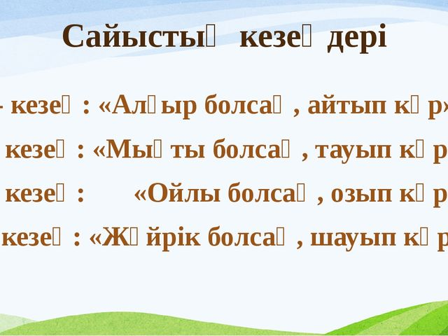 Сайыстың кезеңдері 1- кезең: «Алғыр болсаң, айтып көр» 2- кезең: «Мықты болса...