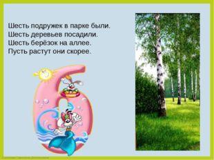 Шесть подружек в парке были. Шесть деревьев посадили. Шесть берёзок на аллее.