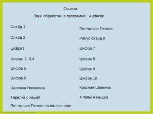 Слайд 1 Ссылки: Слайд 2 Цифры 2, 3,4 Цифра 6 Цифра 9 Почтальон Печкин Ребус с