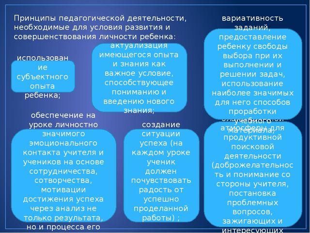 Принципы педагогической деятельности, необходимые для условия развития и сове...