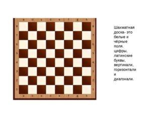 Шахматная доска- это белые и чёрные поля. цифры, латинские буквы, вертикали,