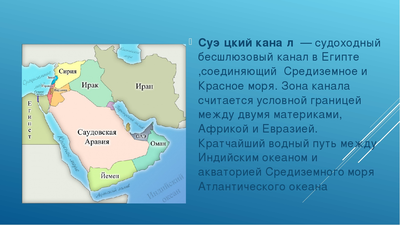 Суэ́цкий кана́л— судоходный бесшлюзовыйканалвЕгипте,соединяющий Средиз...