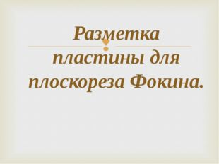 Разметка пластины для плоскореза Фокина.