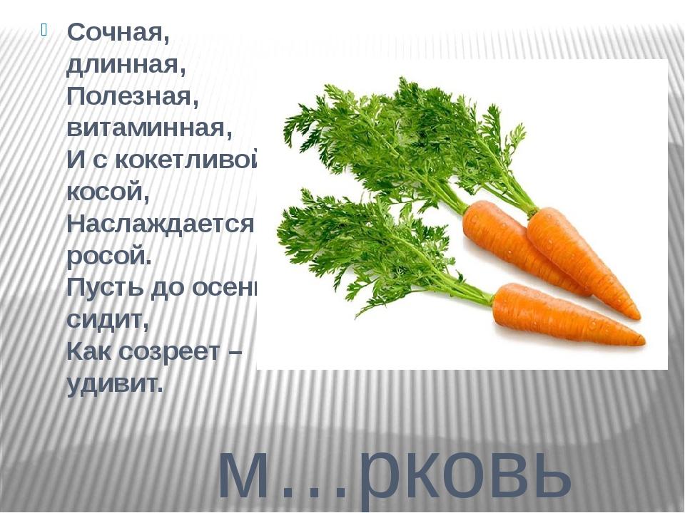 м…рковь Сочная, длинная, Полезная, витаминная, И с кокетливой косой, Наслажд...