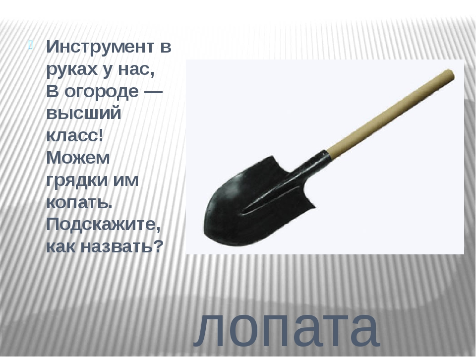 лопата Инструмент в руках у нас, В огороде — высший класс! Можем грядки им к...