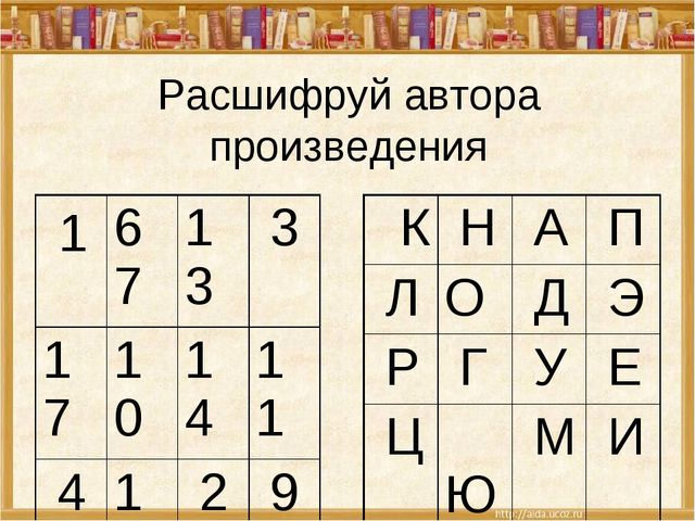 Расшифруй автора произведения 16713 3 17101411 416 2 9 12 815 5