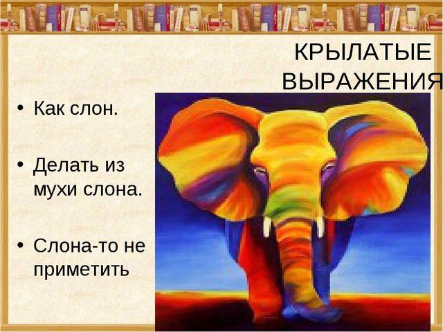 КРЫЛАТЫЕ ВЫРАЖЕНИЯ Как слон. Делать из мухи слона. Слона-то не приметить