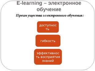 E-learning – электронное обучение Преимущества электронного обучения: доступн